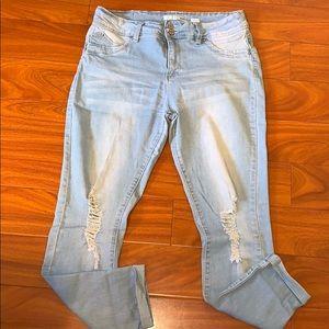 Ripped Light Denim Skinny Jeans